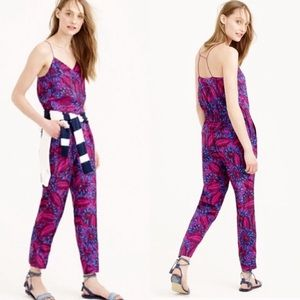 J. Crew Midnight Floral Silk Jumpsuit